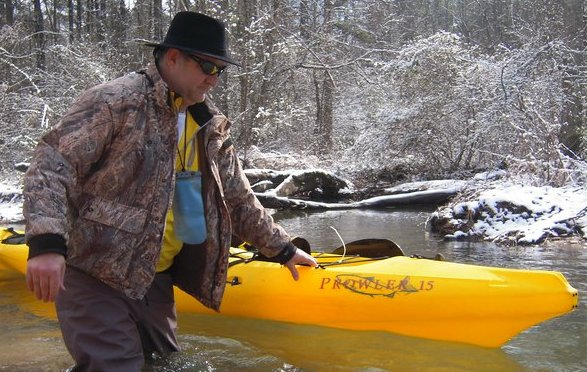 wearing the Swerve Pro while kayaking in the snow