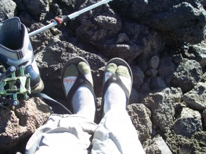 The sandals getting a tough workout on Mt Adams