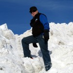 climbing a hill of snow
