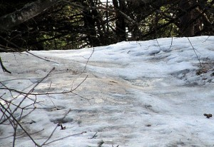 icy spots near top of hill