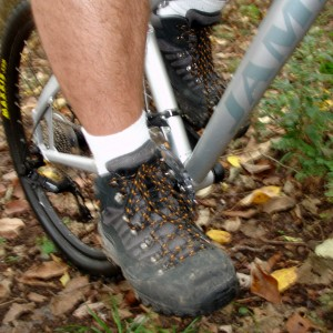 wearing the Wolverine Compass boots while riding my mountain bike
