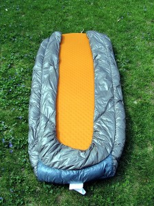 Bottom view Ther-A-Rest Alpine blanket over 72 in air pad