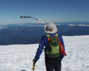 On the summit of Adams looking at Mt Rainier