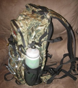 side pocket shown with a 24 oz water bottle