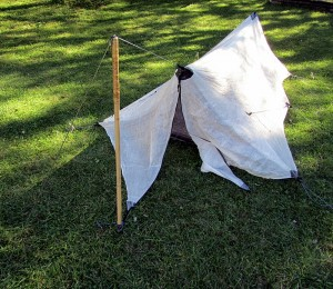 using bamboo pole for a tent