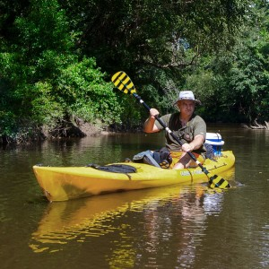 Wearing the Wolverine Creek Bed shoes while kayaking