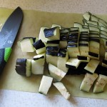eggplant cut in cubes with Gerber Camp Kitchen knife