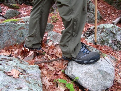 Mountain Khakis Granite Creek convertible pants on trail in Harold Parker State Forrest