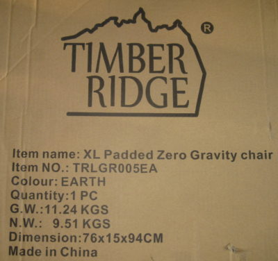 Timber Ridge XL Padded Zero Gravity chair labet
